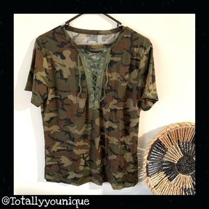 No brand Women's Camo Tee Lace Up